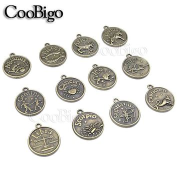 12 Zodiac Horoscope Sign Charm Pendant Bracelet Necklace Zipper Pull Bag Shoes Jewelry Choker Collar Craft Parts Accessories