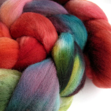 merino wool roving, spinning fiber, spinning fibre, hand dyed roving, hand painted roving, kettle dyed roving, combed top, red green teal