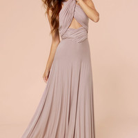Tricks of the Trade Taupe Maxi Dress