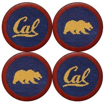Cal - Berkeley Needlepoint Coasters in Navy by Smathers & Branson