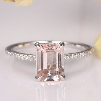 White Gold Morganite Ring