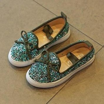BLUE MERMAID GLITTER JEWELED SUEDE SLIP-ON FLAT BOW TIE BLING TENNIS SHOES