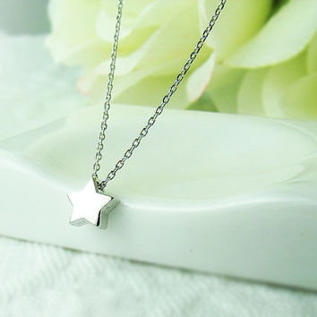Tiny Star Necklace Sterling Silver Womkens Pendant Charm Jewelry Cross Heart gift idea 1ea