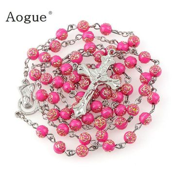 5 Colors 6mm long plastic print silver rose round bead rosaries Necklace