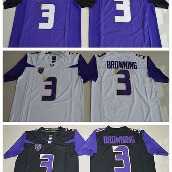 Washington Huskies Jerseys Uniforms 2017 College 3 Jake Browning Jersey Home Black White Purple Alternate Fashion All Stitched High Quality