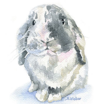 Rabbit Watercolor Painting Mini Lop - Giclee Print - 8 x 10 - 8.5x11 - Nursery Art