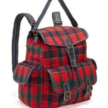 Bright Tartan Plaid Woven Backpack with Navy Faux Leather Handles 16