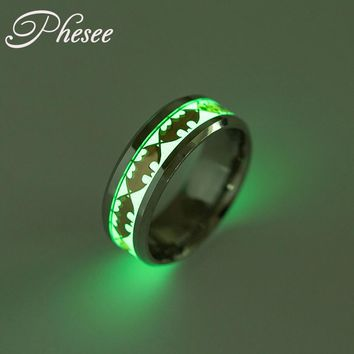 Phesee Fashion Bijoux Glow in Dark Titanium Steel Ring Gold Color Bat Pattern Rings Jewelry For Women and Women Big Size Jewelry