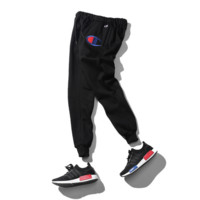 Autumn and winter tide brand big C small feet embroidered trousers champion plus velvet plus cashmere leisure sports foot pants Black