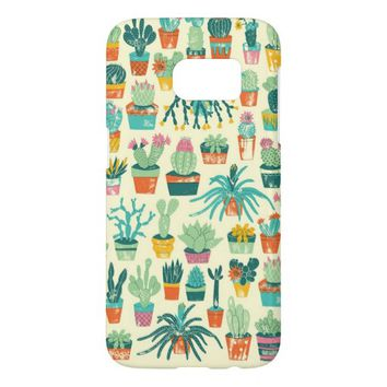 Cactus Flower Pattern Samsung Galaxy S7 Case