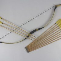 45/50# Traditional Bow and Wooden Arrows Package Mongolian handmade Hunting bows