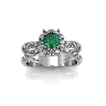 Art Deco Ring -  Antique Style Sterling Silver Created Emerald Engagement and Anniversary Ring Set