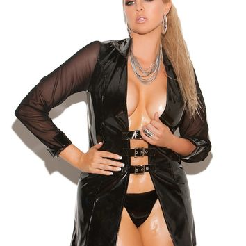 Plus Size Long Sleeved Vinyl Jacket