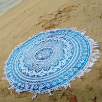 2016 New Summer Large Microfiber Printed Round Beach Towels With Tassel Labhanshi Mandala Roundie Scarf Circle Beach Towel