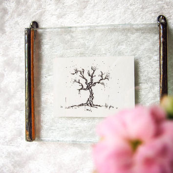 Miniature Original INK Tree DRAWING #6 in Unique HANDMADE Picture Frame Beautiful Detailed Intricate Nature Fine Art. Home Decor- Wall Decor