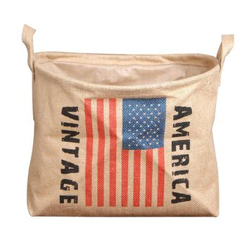 Flag Linen Cylinder Cloth Laundry Basket Storage Bag