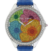 Betsey Johnson Ladies Multi Color Floral Crystal Dial Watch