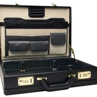 RoadPro CAP-003PM/BK Premium Black Leather-Like Expandable Briefcase | AihaZone Store