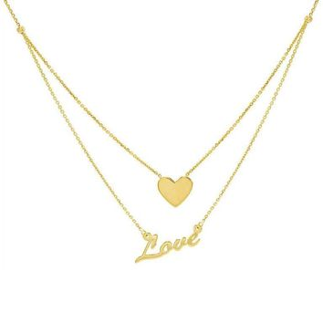 Heart X Love Necklace 14KT