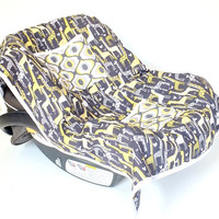 Car Seat Cooler for Infants, Baby, and Toddler, Giraffe Love Gray, Feeling Groovy, Citron, Michael Miller, Giraffe's, Gray, Yellow