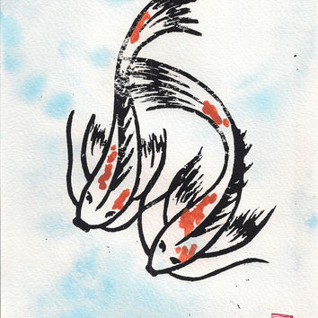Koi Fish Wall Art mixed media block print ink acrylic watercolor