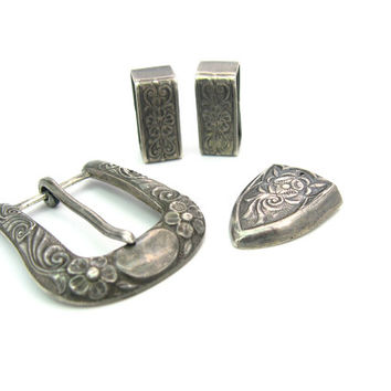 Belt Buckle Set. Sterling Silver Ranger Belt. Nelson Bringhoff, Signed NB. Southwest Floral. Vintage 1950s Four Piece Unisex Set.
