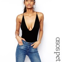 ASOS PETITE Body With Strappy Back and Plunge Neck - Black