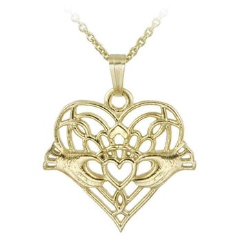 14K Gold Filled Hands Holding Heart Necklace