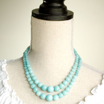 statement necklace turquoise statement necklace chunky turquoise necklace graduated beaded multi strand necklace