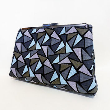 Metal Frame Purse Stained Glass Pattern in Grey, Mauve and Blue
