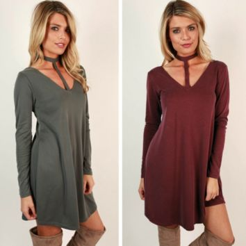 Long sleeve casual sexy dress