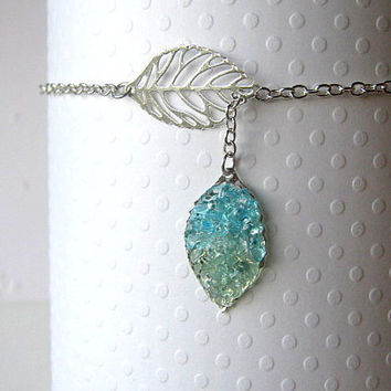 Lariat Leaf Ankle Bracelet, Lariat Anklet , Stained Glass Anklet, Blue Leaf Anklet, Anklet