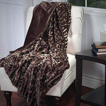 Ben and Jonah Faux Fur Mink Throw Blanket (Brown)