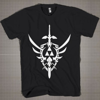 Zelda Hylian Triforce  Mens and Women T-Shirt Available Color Black And White