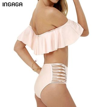 High Waist Bikini Set New Ruffle Swimwear Women Cut Out Swimsuit Strap Summer Swim Wear Bathing Suits