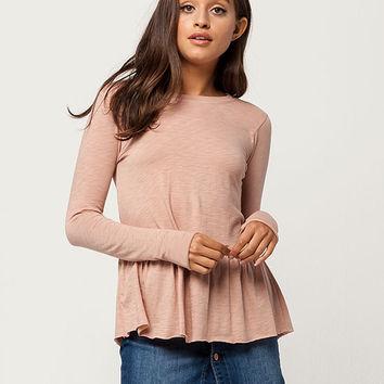 SOCIALITE Peplum Ruffle Womens Top | Knit Tops + Tees