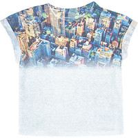 River Island Mini boys white city fade print t-shirt