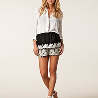 Floral Embroidery Shorts, Anna Sui