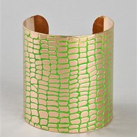 Scale It Gold Cuff - BANG010 - Green | Shop Accessories