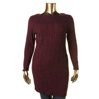 Style & Co. Womens Cable Knit Marled Pullover Sweater
