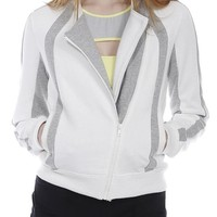 X By Gottex Women's French Terry Biker Jacket S Offwhite & Heather Grey