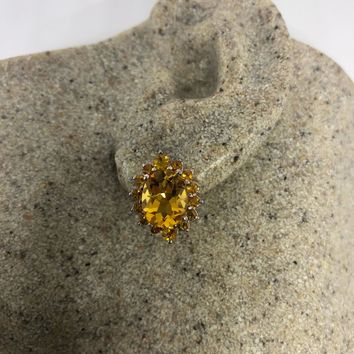 Vintage Genuine Citrine Gemstone 925 Sterling Silver Deco Stud earrings