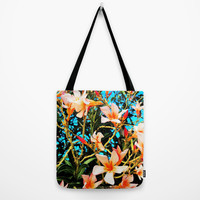 Flowers on Fire Tote Bag by Yuval Ozery