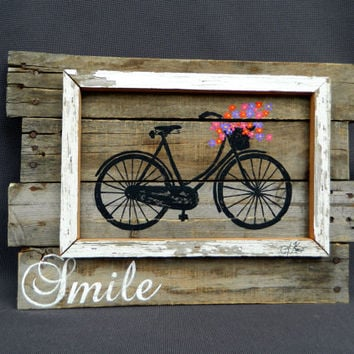 Bright Hand painted Daisies in basket of antique bike, Wall art, barn wood, Reclaimed Wood Pallet Art, Rustic and Shabby Chic Summer porch