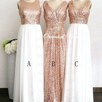 Glittering Rose Gold Sequins Bridesmaid Dress White Chiffon Long Bridesmaid Dresses Custom Color Formal Prom Dress For Wedding