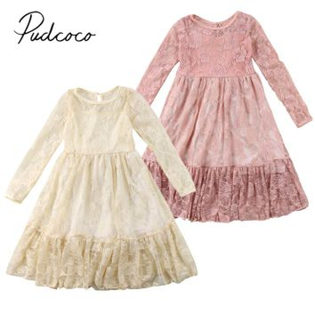 2018 Brand New Princess Toddler Infant Child Kids Girl Lace Dress Long Sleeve Wedding Party Pageant Dress Fairy Longuette 2-7T