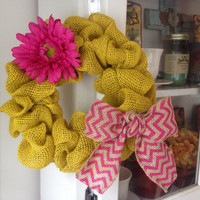 Pink and yellow burlap chevron flower wreath