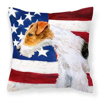 Fox Terrier Patriotic Fabric Decorative Pillow BB9650PW1414