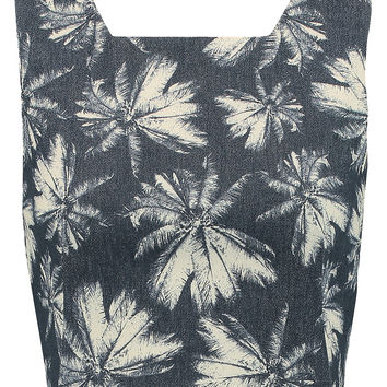 L'Agence Cropped printed cotton-blend twill top – 56% at THE OUTNET.COM