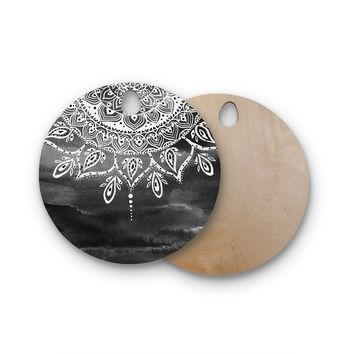 "Li Zamperini ""Black & White Mandala"" Gray Abstract Round Wooden Cutting Board"
